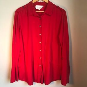 TWO by VINCE CAMUTO Red Button-Up Roll-Tab Size XL
